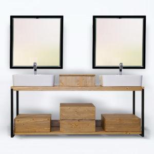 kubo' sottolavabo sospeso con specchi mobile bagno design legno massello