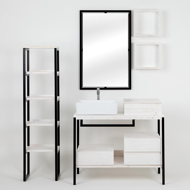 composizione bagno kubo sottolavabo con cassetti mensole colonna in bianco shabby 10