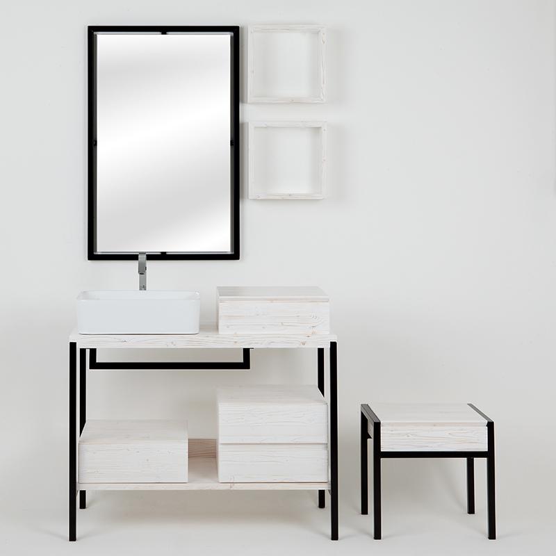 composizione bagno kubo sottolavabo bianco con cassetti pensili e sgabello11
