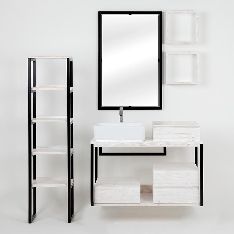 composizione bagno kubo sottolavabo sospeso con cassetti mensole colonna in bianco shabby 10