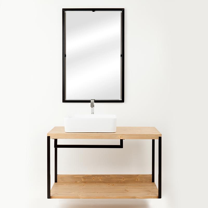 composizione bagno kubo specchio e sottolavabo sospeso rovere nodo 2