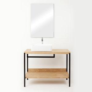 composizione bagno kubo sottolavabo rovere e specchio 1