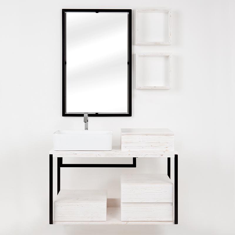 composizione bagno kubo sottolavabo sospeso bianco con cassetti e pensili 9