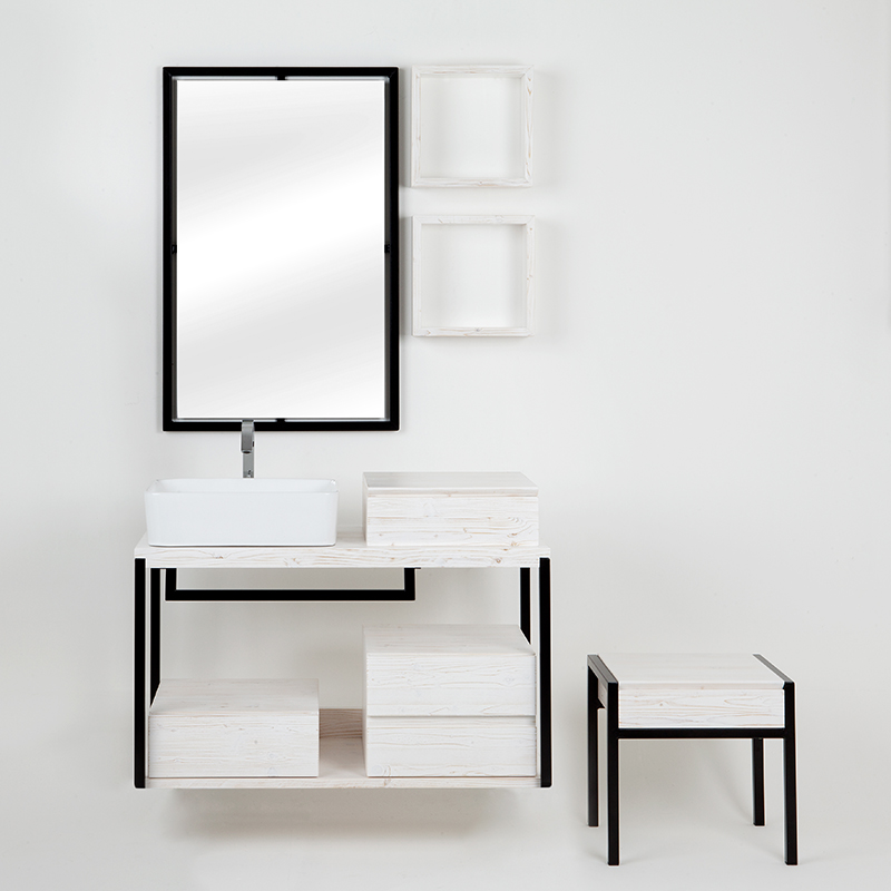composizione bagno kubo sottolavabo sospeso bianco con cassetti pensili e sgabello11