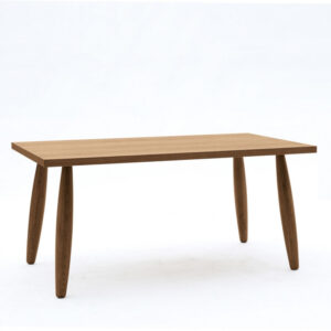 Tavolo rovere in legno massello con gambe tornite e bordo dritto