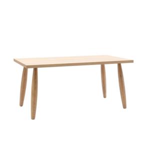 Tavolo rovere in legno massello con gambe tornite e bordo naturale
