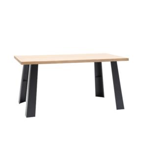 Tavolo stile industriale in legno e metallo con bordo naturale