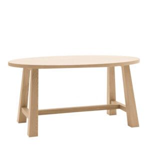 Tavolo ovale in legno massello rovere con bordo dritto