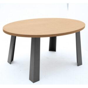 Tavolo ovale in stile industriale in legno e metallo soggiorno