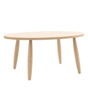 Tavolo ovale in legno rovere con gambe tornite