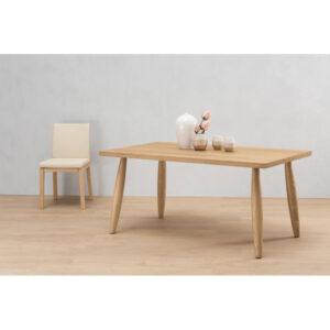 Sedia in legno rovere con imbottitura ecopelle bianco panna di qualità