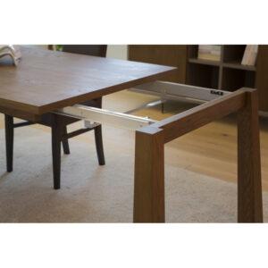 Tavolo rettangolare allungabile in legno massello rovere allungabile