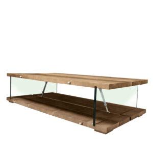 Tavolino stile industriale legno e vetro