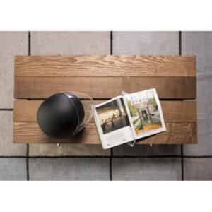 Tavolino stile industriale legno e vetro particolare