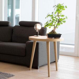 Tavolino rotondo da salotto 60x60 in legno massello rovere soggiorno