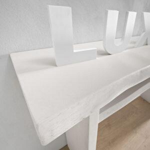 Consolle ingresso in legno massello con bordo naturale particolare